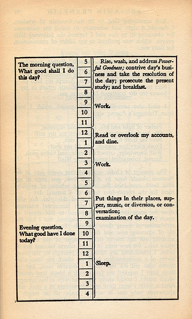 The schedule of Benjamin Franklin (via nickbilton on Flickr)